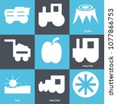 set of 9 simple editable icons... | Shutterstock .eps vector #1077866753
