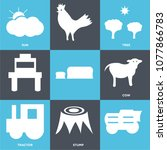 set of 9 simple editable icons... | Shutterstock .eps vector #1077866783