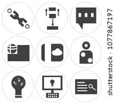 set of 9 simple editable icons... | Shutterstock .eps vector #1077867197