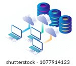 digital technology  cloud data... | Shutterstock .eps vector #1077914123