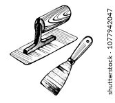hand holding a trowel... | Shutterstock .eps vector #1077942047