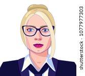 full face portrait of the blond ... | Shutterstock .eps vector #1077977303