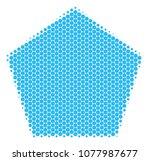 halftone dot filled pentagon...   Shutterstock .eps vector #1077987677