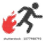 halftone round spot fired... | Shutterstock .eps vector #1077988793
