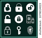 set of 9 lock filled icons such ... | Shutterstock .eps vector #1078014023