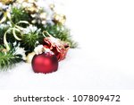 Christmas composition with christmas ball - stock photo