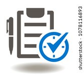 check list check mark pen clock ... | Shutterstock .eps vector #1078116893