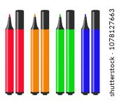markers isolated on white... | Shutterstock .eps vector #1078127663