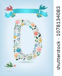floral letter d with blue... | Shutterstock .eps vector #1078134083