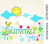 cute  hand drawn style summer... | Shutterstock . vector #107814083