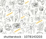 summer seamless pattern with... | Shutterstock .eps vector #1078143203