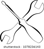 screwdriver and open end wrench ... | Shutterstock . vector #1078236143