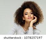 fashion portrait of black woman ... | Shutterstock . vector #1078257197