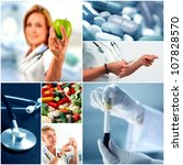 Medicine collage - stock photo