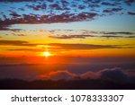 fiery orange sunset sky. bali ... | Shutterstock . vector #1078333307