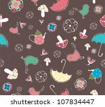 seamless pattern with teacups ... | Shutterstock .eps vector #107834447