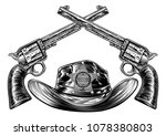 cowboy hat with sheriffs star... | Shutterstock .eps vector #1078380803