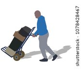 hard worker pushing wheelbarrow ... | Shutterstock .eps vector #1078428467