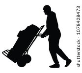 hard worker pushing wheelbarrow ... | Shutterstock .eps vector #1078428473