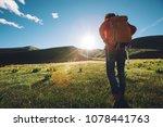 backpacking woman hiker hiking... | Shutterstock . vector #1078441763