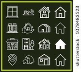 set of 16 home outline icons... | Shutterstock .eps vector #1078483523
