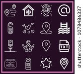 set of 16 signs outline icons...   Shutterstock .eps vector #1078486337