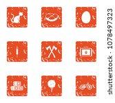 favorite pet icons set. grunge... | Shutterstock .eps vector #1078497323