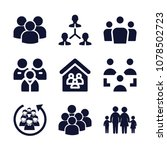 set of 9 group filled icons... | Shutterstock .eps vector #1078502723