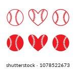 set of baseball balls. outline... | Shutterstock .eps vector #1078522673