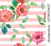 greetind card with watercolor... | Shutterstock . vector #1078529657