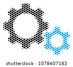 halftone hexagonal gears icon.... | Shutterstock .eps vector #1078607183