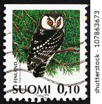 Small photo of FINLAND - CIRCA 1991: a stamp printed in the Finland shows Boreal Owl, Aegolius Funereus, Bird, circa 1991