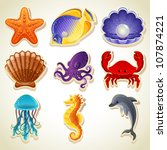 Sea animals icons - stock vector