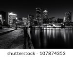 Boston Harbor At Night In Blac...
