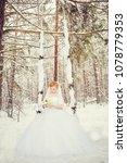 winter romantic wedding in... | Shutterstock . vector #1078779353
