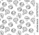 broccoli hand drawn vector... | Shutterstock .eps vector #1078792517