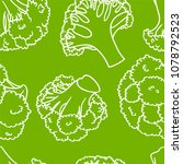 broccoli hand drawn vector... | Shutterstock .eps vector #1078792523