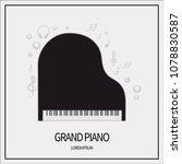 concert grand piano black color ... | Shutterstock .eps vector #1078830587