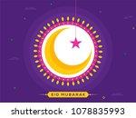 crescent golden moon  hanging... | Shutterstock .eps vector #1078835993