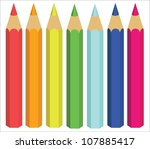 Colored Crayons  Vector...