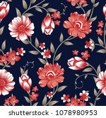 floral pattern  on navy | Shutterstock .eps vector #1078980953