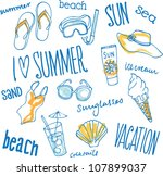 Summer Vacation Holiday Icons...