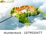 aerial view of old castle.... | Shutterstock . vector #1079033477