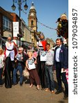 Small photo of Morley, Leeds, United Kingdom 21st April 2018. A weekend of action against Government School Cuts saw lots of demonstrations across the country one was held in Morley, Leeds - Editorial