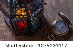 old pocket watch with ramadhan... | Shutterstock . vector #1079234417