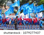 Small photo of PAHANG, MALAYSIA-APRIL 28: Supporters of political parties during candidate nomination day on April 28, 2018 in Pekan, Pahang. The 14th general election will be held on 9th May 2018.