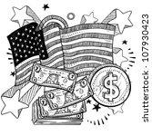 doodle style coins and dollar... | Shutterstock .eps vector #107930423