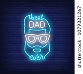 best dad ever neon style icon.... | Shutterstock .eps vector #1079321267