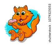 cat eating donut | Shutterstock . vector #1079325053