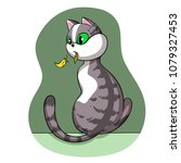 the cat that ate the canary | Shutterstock . vector #1079327453